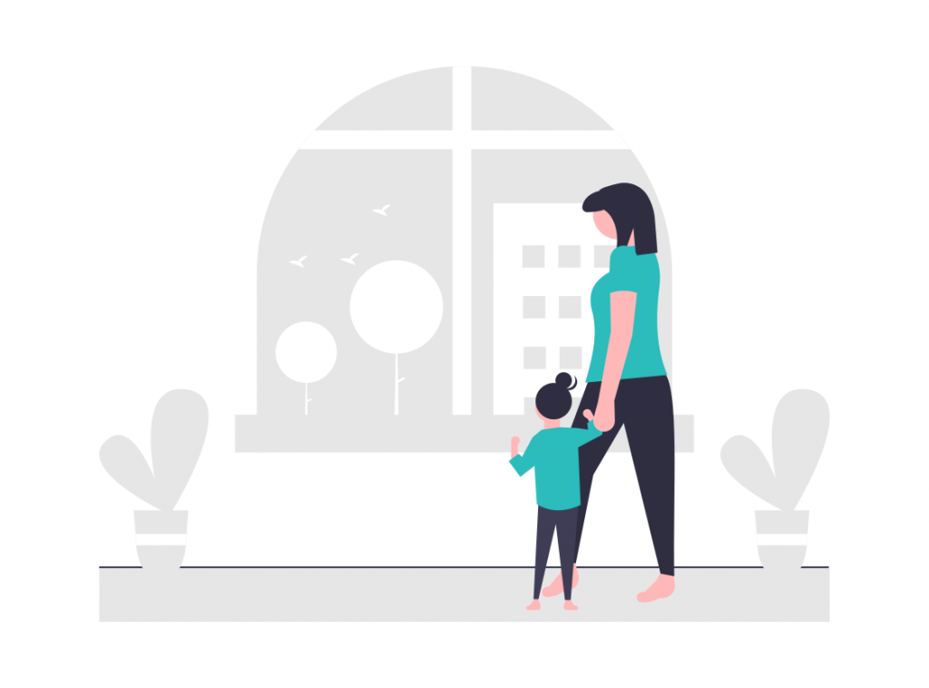 Wohnung mit Kind und Mama Illustration