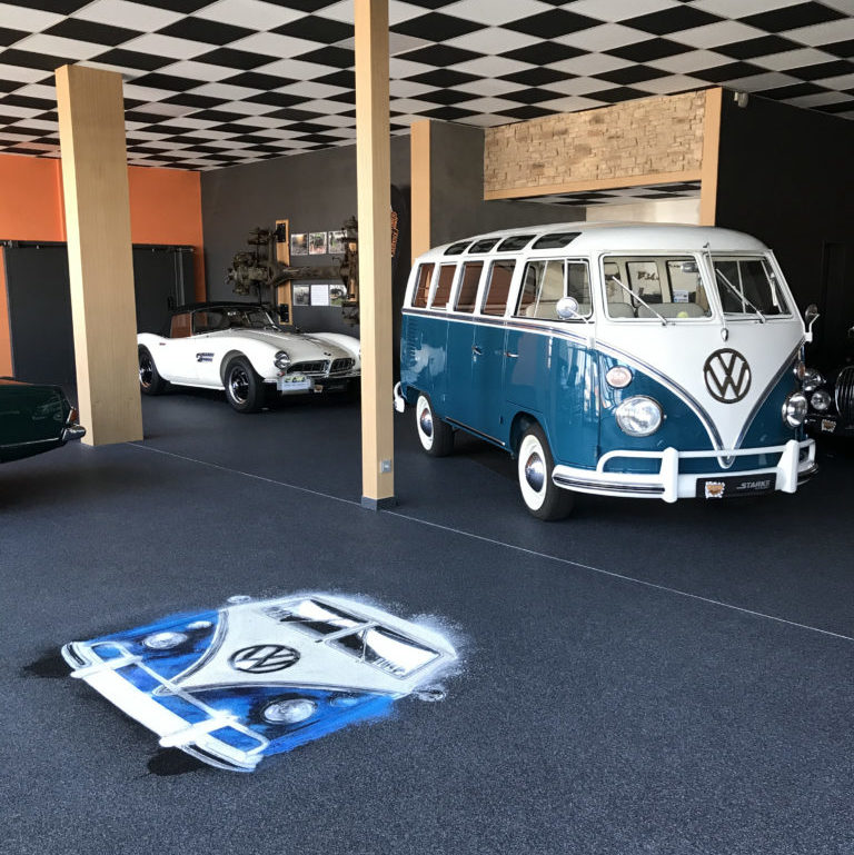 Quarzkiesboden Zimmermann Ausstellung VW Bus T1