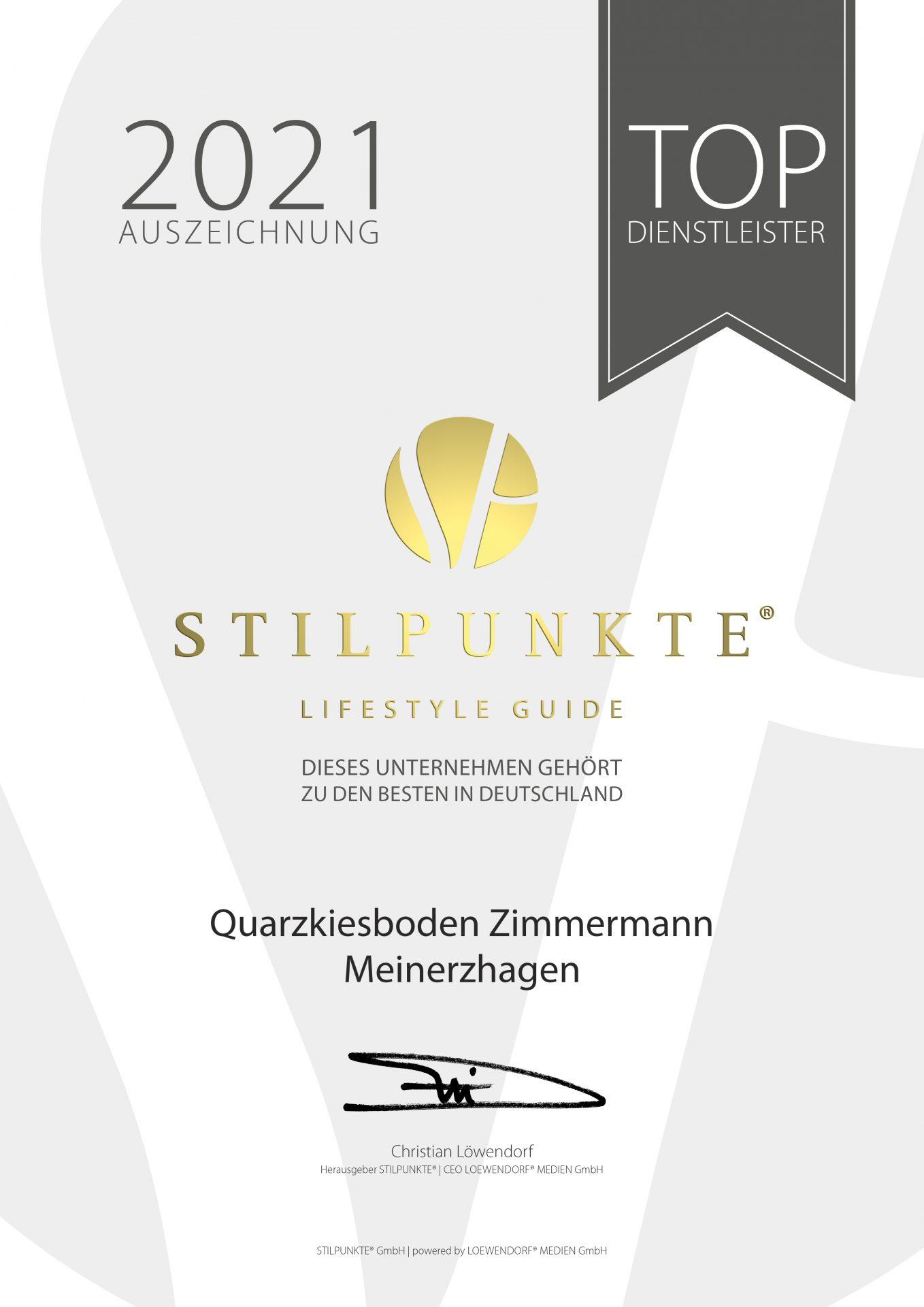 Stilpunkte Auszeichnung Zimmermann 2021